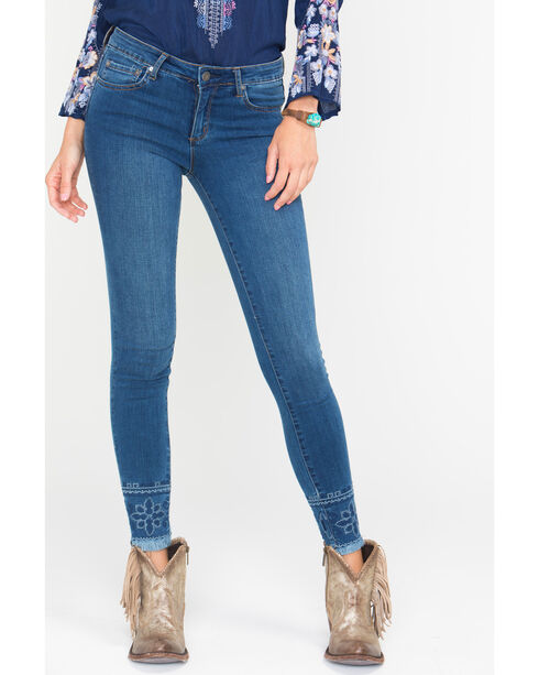 Tractr Blu Women's Indigo Embroidered Fray Hem Jeans - Skinny , Indigo, hi-res