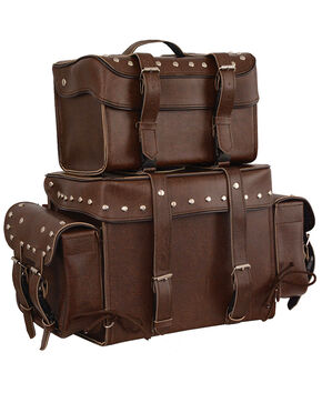 Milwaukee Leather Large Antique Four Piece Studded PVC Touring Pack With Barrel Bag, Brown, hi-res