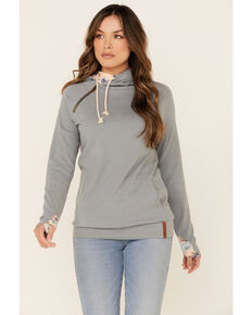 Ampersand Avenue Women's Blue Floral Elbow Patch Hooded Sweatshirt , Blue, hi-res