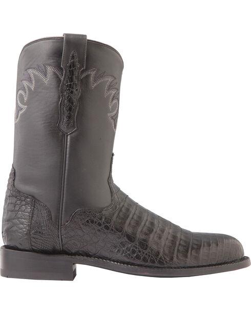 El Dorado Men's Handmade Caiman Belly Roper Boots - Round Toe, Black, hi-res