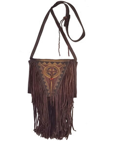 Kobler Leather Women's Brown Painted Crossbody Bag, Dark Brown, hi-res