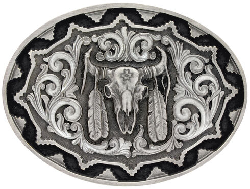 Montana Silversmiths Southwest Classic Impressions Buffalo Skull Attitude Belt Buckle, Silver, hi-res