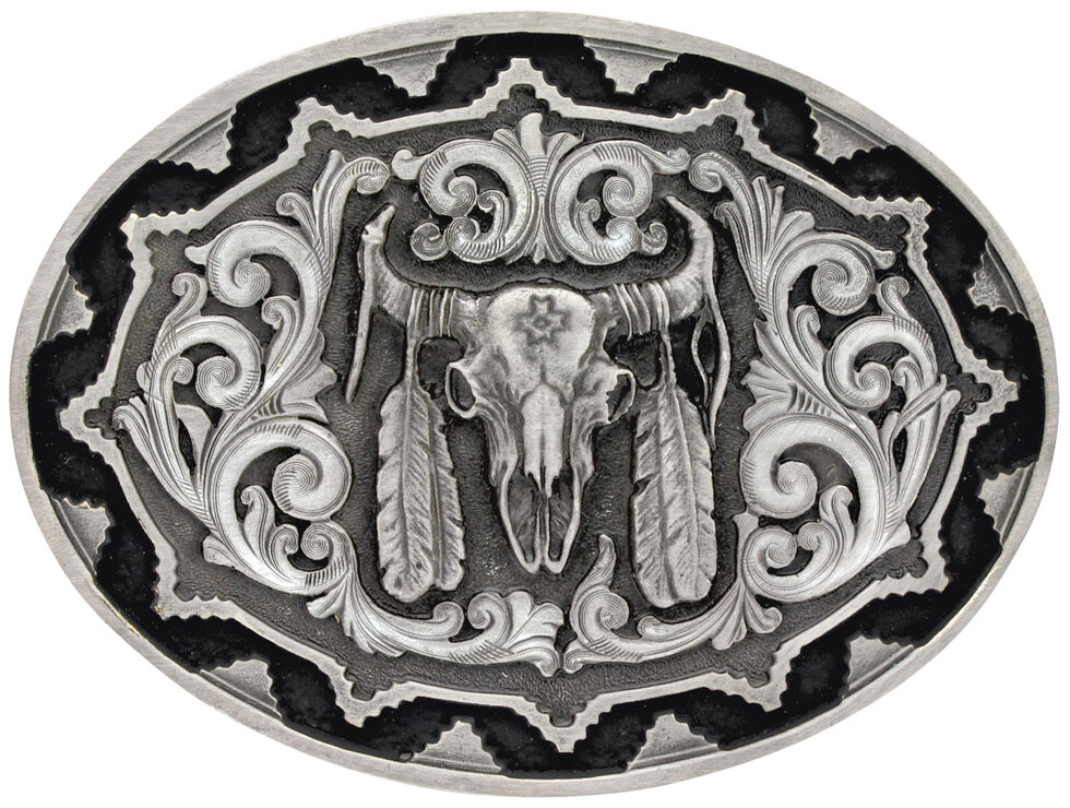 Montana Silversmiths Southwest Classic Impressions Buffalo Skull Attitude Belt Buckle, Silver, hi-res