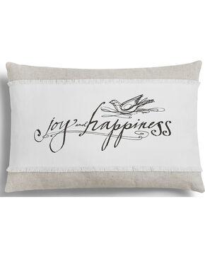 Demdaco White Poetic Threads Joy & Happiness Throw Pillow , White, hi-res