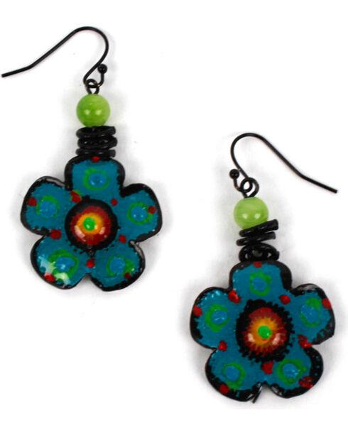 Treska Women's Flower Drop Earrings, Black, hi-res