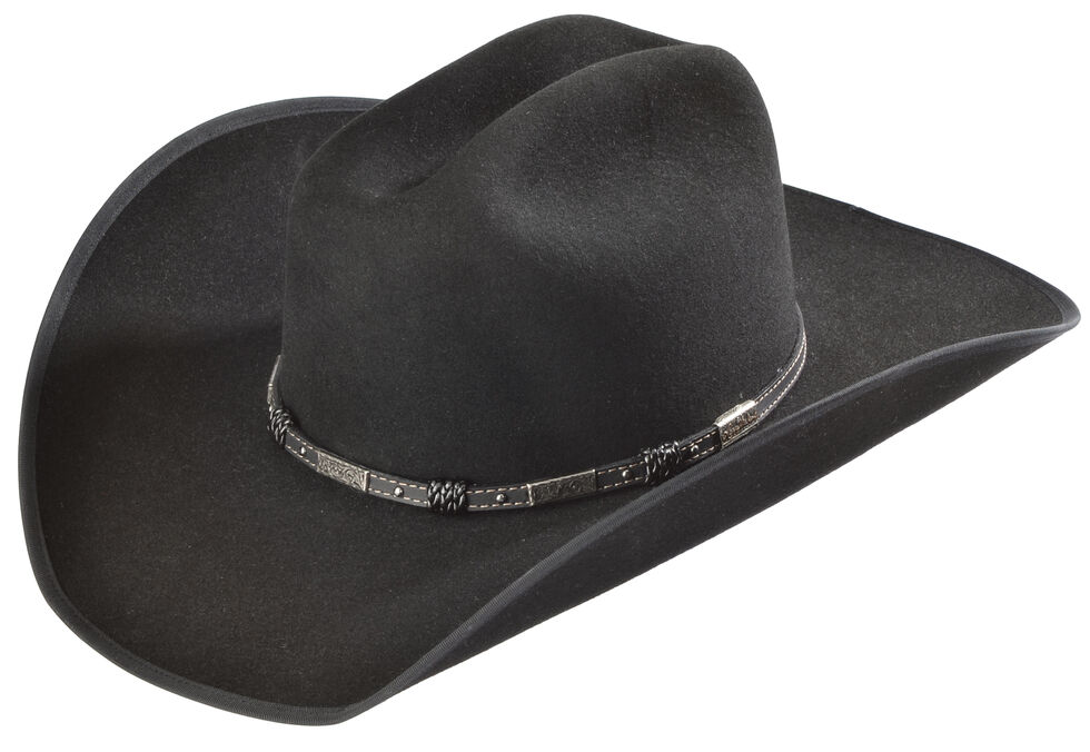 Justin Bent Rail 7X Dagger Black Fur Felt Cowboy Hat, Black, hi-res
