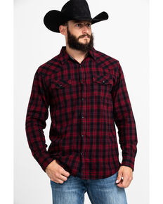 Cody James Men's Christmas Plaid Long Sleeve Western Flannel Shirt - Big , Red, hi-res