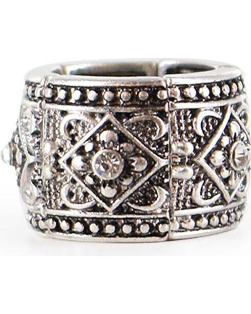 Shyanne Women's Rhinestone Pattern Ring , Silver, hi-res