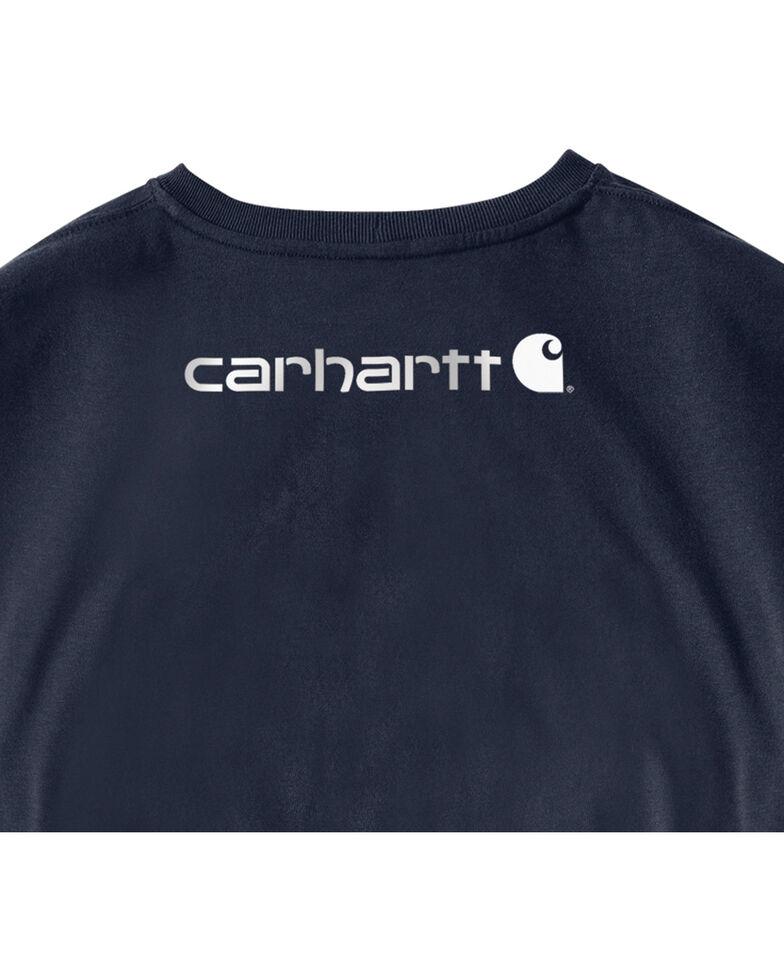 Carhartt Men's Signature Logo Long Sleeve Knit Work T-Shirt , Navy, hi-res