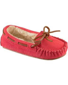Minnetonka Cassie Kids' Moccasins, Hot Pink, hi-res