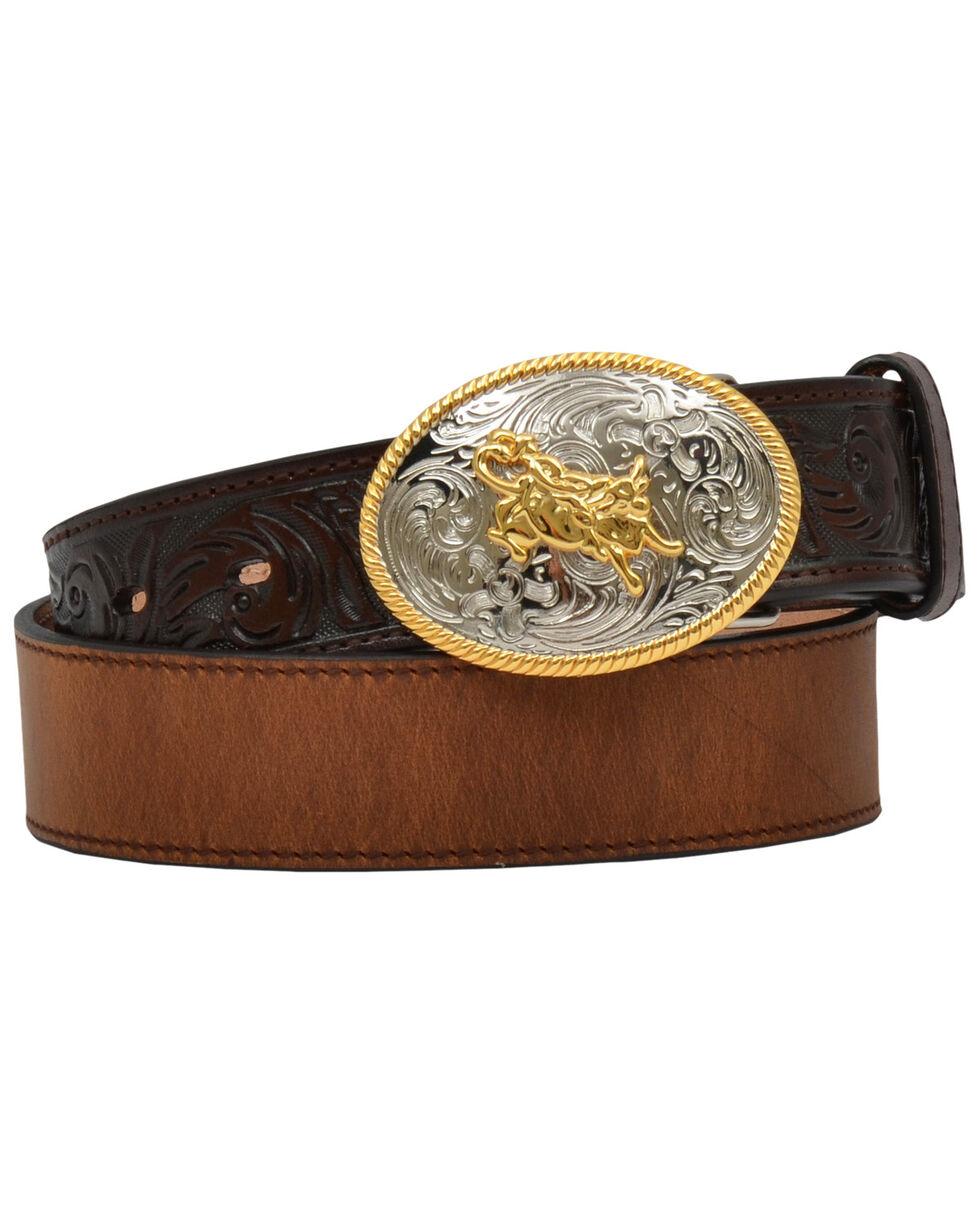3D Boys' Leather Bull Trophy Buckle Belt, Brown, hi-res