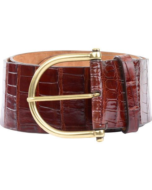 Lucchese Women's Chocolate Ultra Belly Caiman Belt , Chocolate, hi-res
