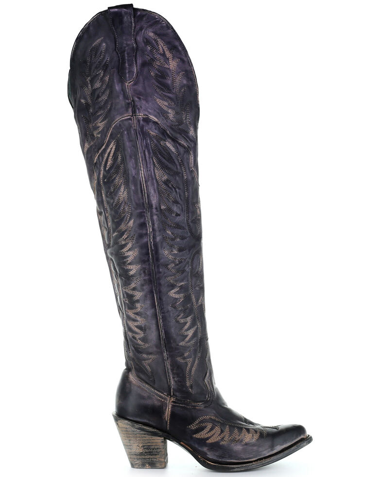Corral Women's Black Embroidery Tall Western Boots - Snip Toe, Black, hi-res