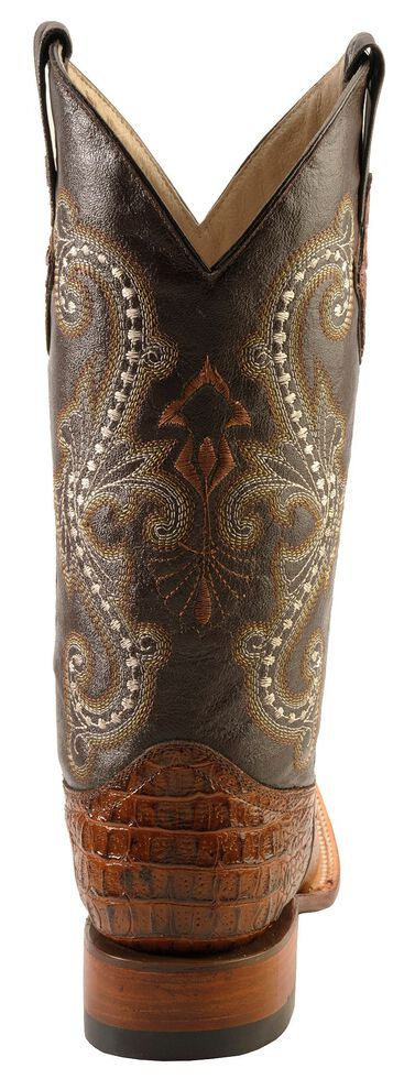 Ferrini Men's Caiman Croc Print Cowboy Boots - Wide Square Toe, Rust, hi-res