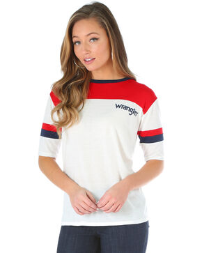 Wrangler Women's 3/4 Length Sleeve Colorblocked Tee, Red/white/blue, hi-res