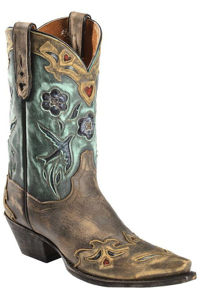 Dan Post Blue Bird Wingtip Cowgirl Boots - Snip Toe, Copper, hi-res