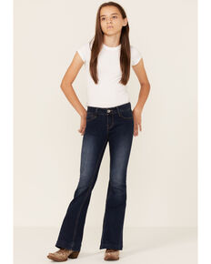 Grace In LA Girls' Dark Wash Flare Jeans, Blue, hi-res