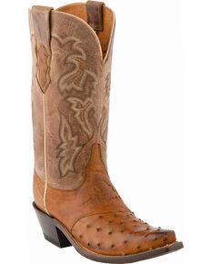 Lucchese Women's Handmade Augusta Full Quill Ostrich Cowgirl Boots - Snip Toe, Tan Burnish, hi-res
