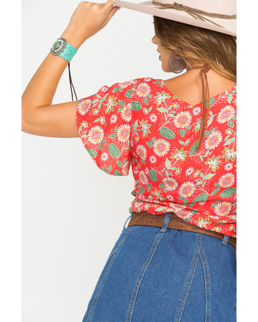 Miss Me Women's Red Short Sleeve V-neck Floral Top, Red, hi-res