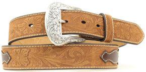 Nocona Top Hand Aztec Inlay Belt, Med Brown, hi-res
