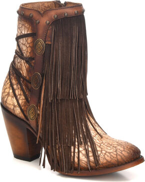 Corral Women's Sanded Tobacco Fringe & Stud Ankle Boots - Round Toe, Sand, hi-res
