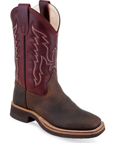 Old West Boys' Two Tone Leather Cowboy Boots - Square Toe, Brown, hi-res