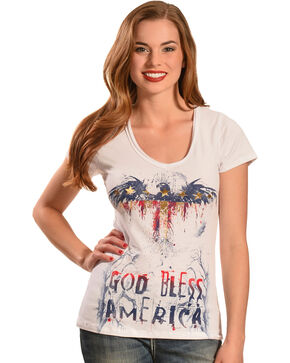 Liberty Wear Women's White God Bless America Top, White, hi-res