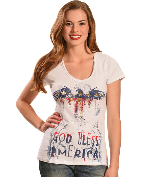 Liberty Wear Women's White God Bless America Top, White, hi-res