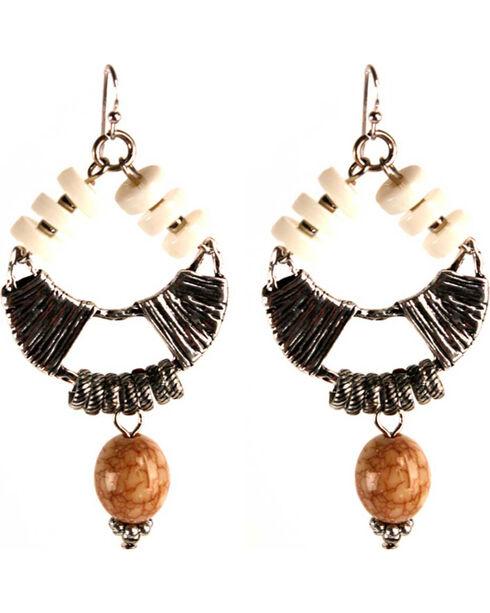 Treska Women's Wire Hoop With Drop Earrings , Silver, hi-res