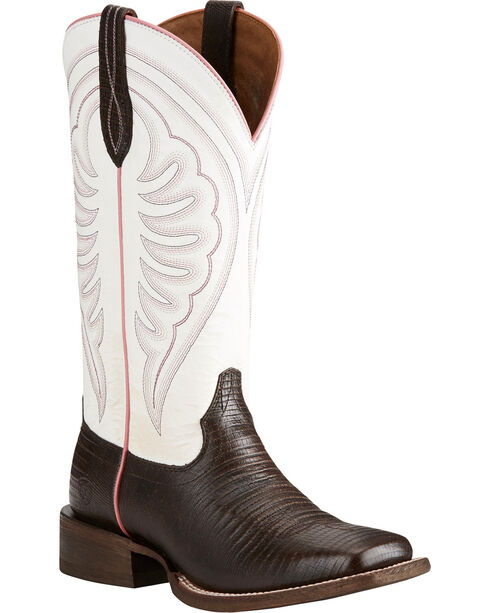 Ariat Women's Circuit Shiloh Lizard Print Cowgirl Boots - Square Toe, Brown, hi-res
