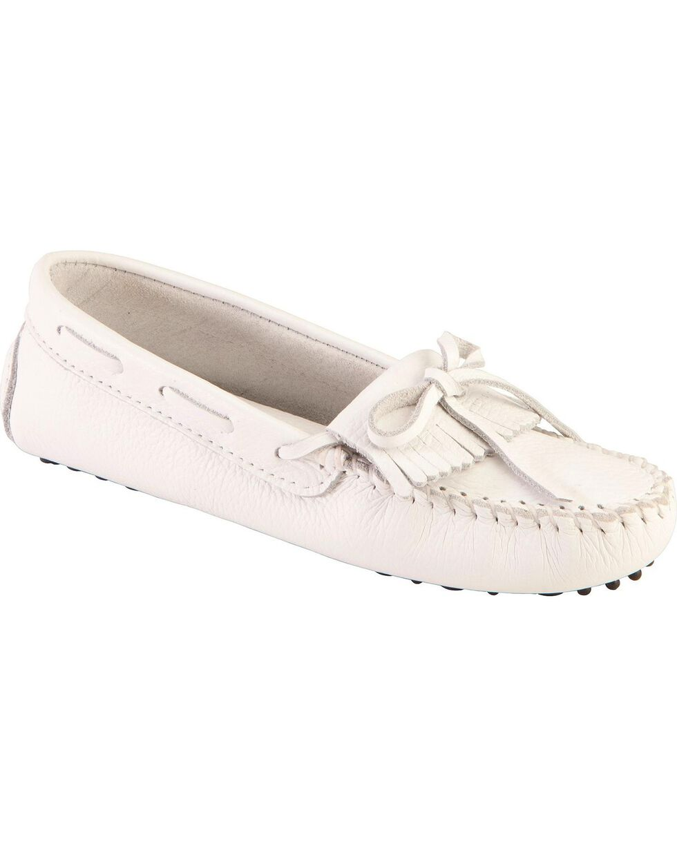 Women's Minnetonka Kilty Driving Moccasins, White, hi-res