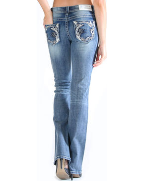 Grace in LA Women's Embroidered Pocket Jeans - Boot Cut , Medium Blue, hi-res
