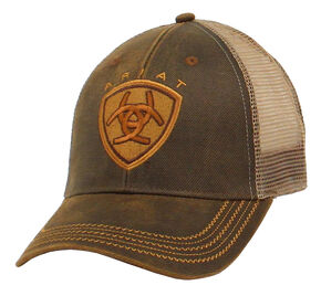 Ariat Oilskin Mesh Cap, Brown, hi-res
