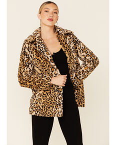 Shyanne Women's Cheetah Print Faux Fur Snap-Front Long Jacket , Tan, hi-res