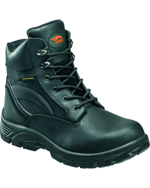 """Avenger Men's Waterproof 6"""" Lace-Up EH Work Boots - Round Toe, Black, hi-res"""