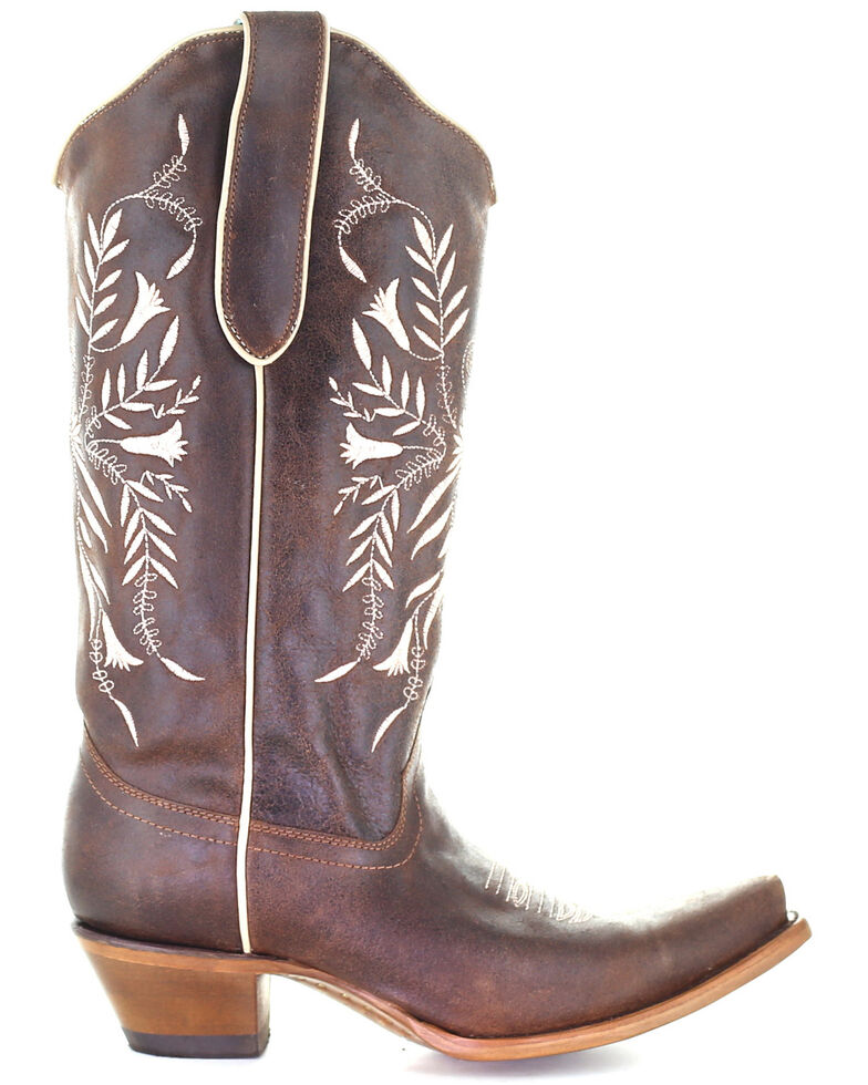 Corral Women's Brown Embroidery Western Boots - Snip Toe, Brown, hi-res