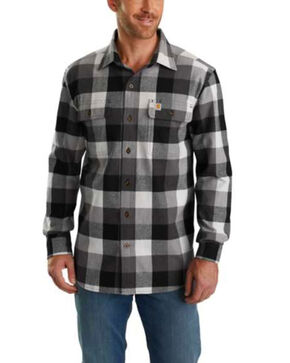 Carhartt Men's Hubbard Plaid Flannel Work Shirt , Grey, hi-res