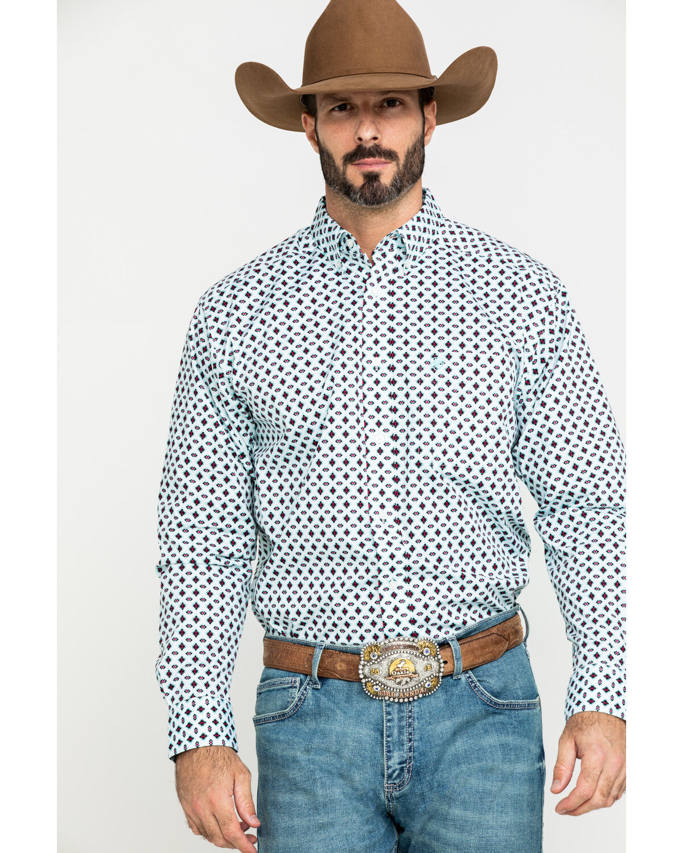 ARIAT Mens Wrinkle Free Merritt Print Classic Fit Shirt