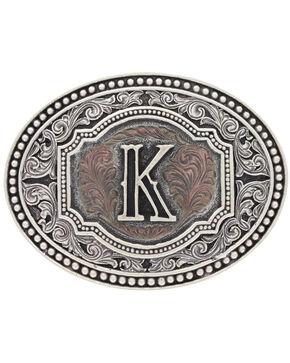 "Montana Silversmiths Men's Initial ""K"" Two-Tone Attitude Belt Buckle, Silver, hi-res"