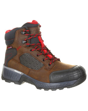 Rocky Men's Treadflex Waterproof Work Boots - Round Toe, Dark Brown, hi-res