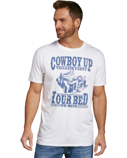 Cowboy Up Men's White Your Bed Or Mine T-Shirt , White, hi-res