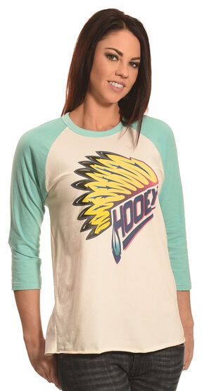 Hooey Women's Indian Feather Baseball T-Shirt, Grey, hi-res