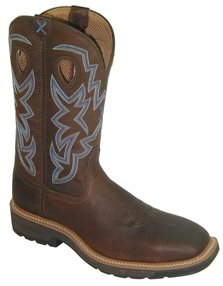 Twisted X Men's Lite Pull-On Work Boots - Steel Toe, Brown, hi-res