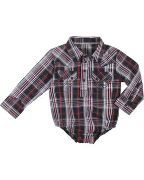 Wrangler Infant Boys' Black Plaid Long Sleeve Western Onesie , Black, hi-res