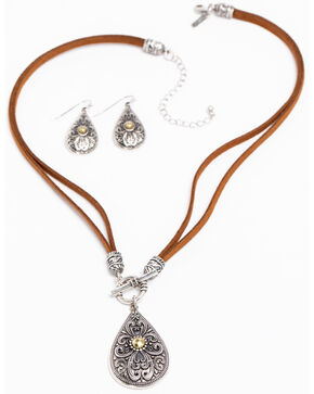 Shyanne Women's 2-Tone Filigree Gold Bead Toggle Necklace Set, Silver, hi-res