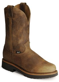 Justin Men's J-Max Blueprint Bay Gaucho EH Pull-On Work Boots - Steel Toe, Tan, hi-res