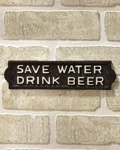 BB Ranch Cast Iron Save Water Drink Beer Wall Plaque, No Color, hi-res