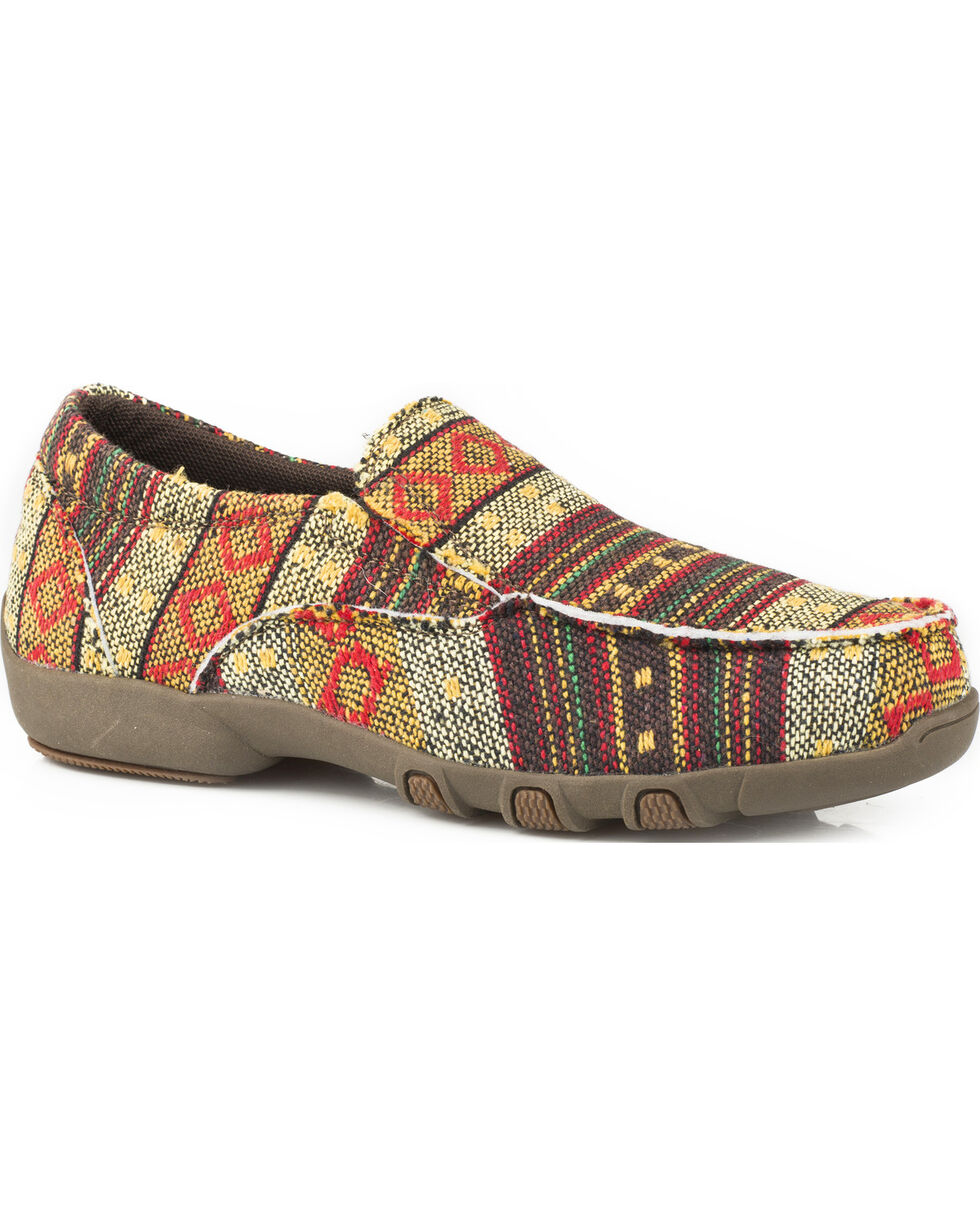 Roper Girls' Johnnie Golden Brown Multicolor Aztec Driving Mocs - Moc Toe, Brown, hi-res