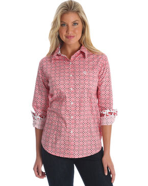 Wrangler Women's Peach George Strait Large Medallion Print Shirt , Multi, hi-res