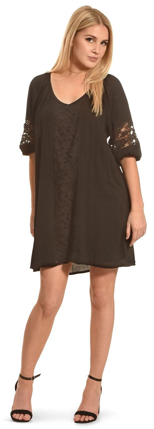 Angel Ranch Women's Black Lace Peasant Dress , Black, hi-res
